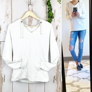 Gap White Pullover French Terry Hoodie Sweatshirt